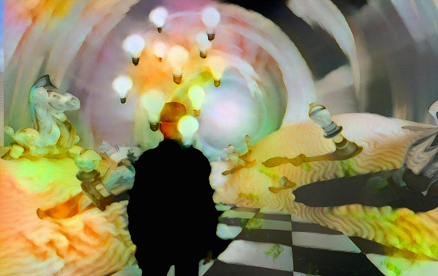Man In Surreal Desert Digital Art