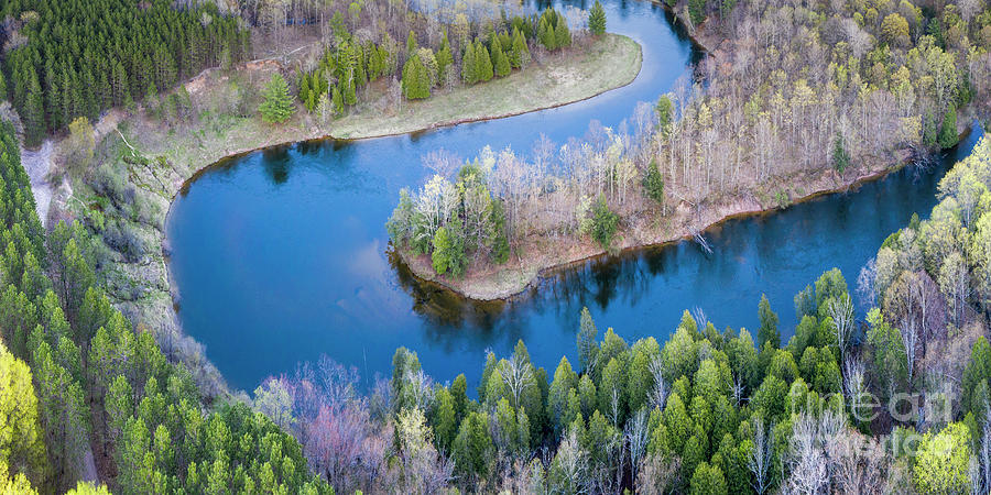Manistee River Photograph - Manistee River Bend From Above by Twenty Two North Photography