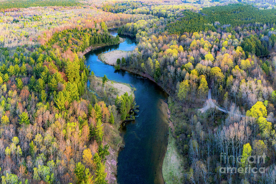 Manistee River Photograph - Manistee River From Above In Spring by Twenty Two North Photography