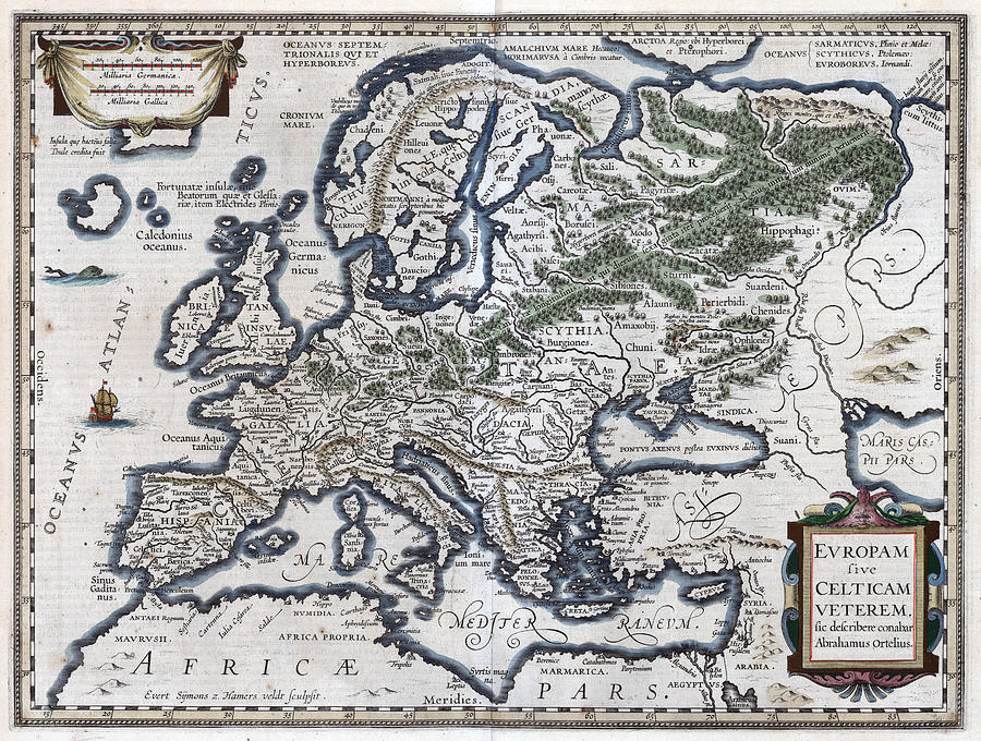 old map of europe Old Map Of Europe 1570 Photograph by Dusty Maps
