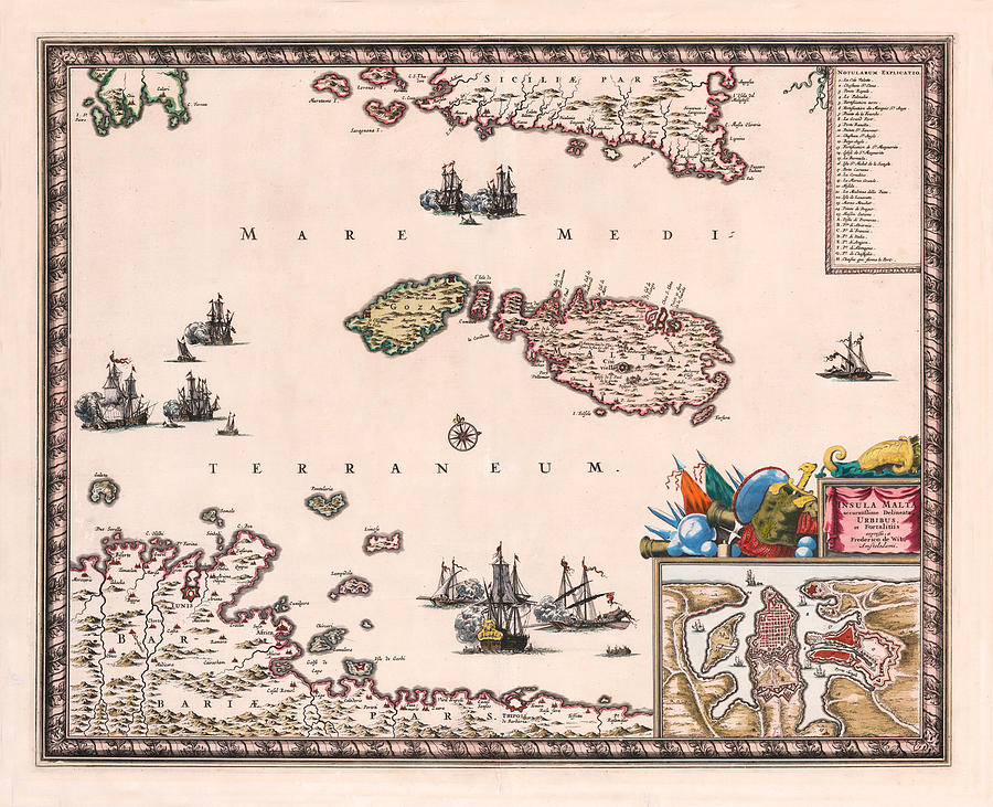 Map Of Malta 1680 by Andrew Fare