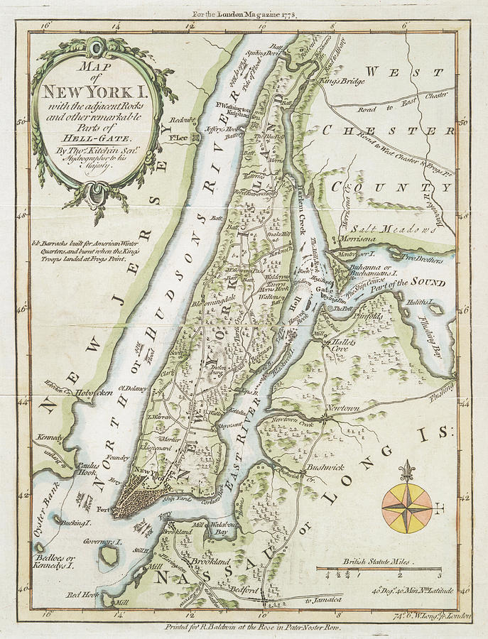 Map Of New York Islands.Old Map Of New York Island 1778 By Dusty Maps