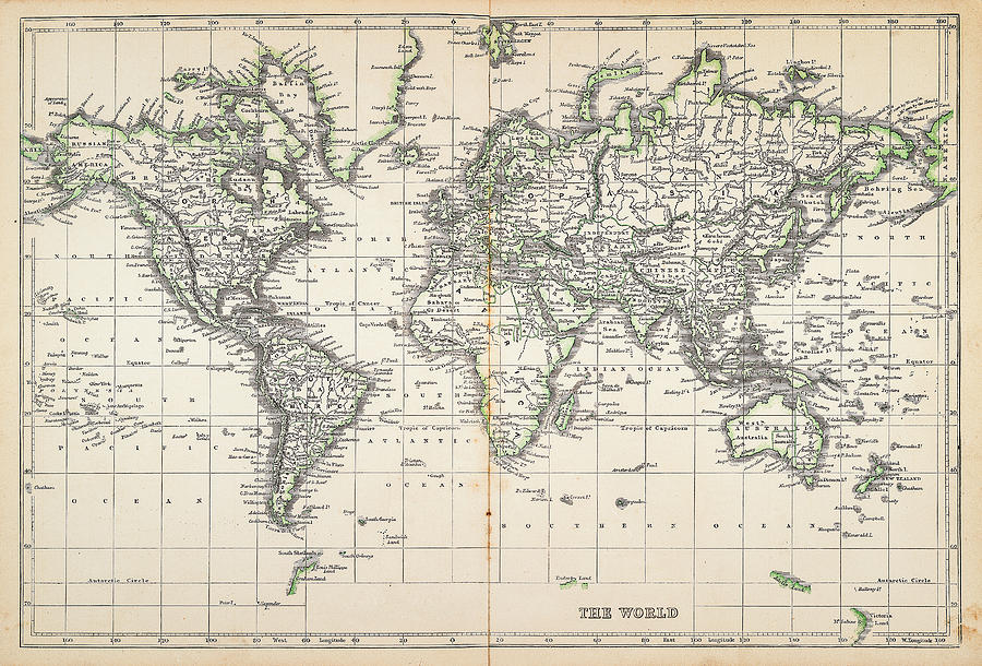 Globe Digital Art - Map Of The World 1855 by Thepalmer