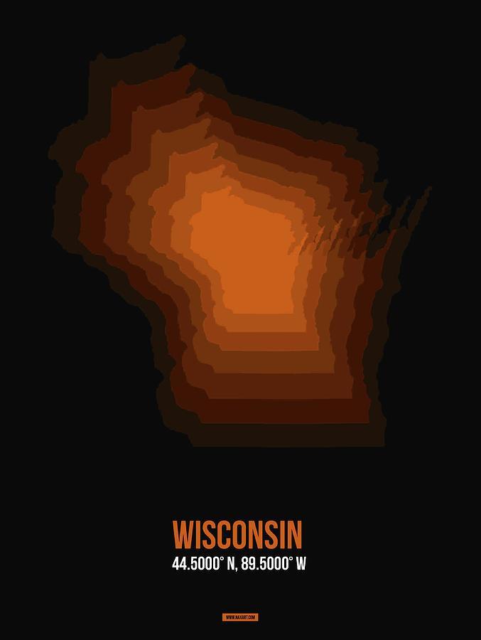 Wisconsin Map Digital Art - Map Of Wisconsin by Naxart Studio