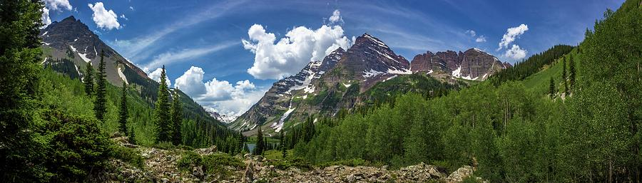 Maroon Bells and Crater Lake Panorama by Andy Konieczny
