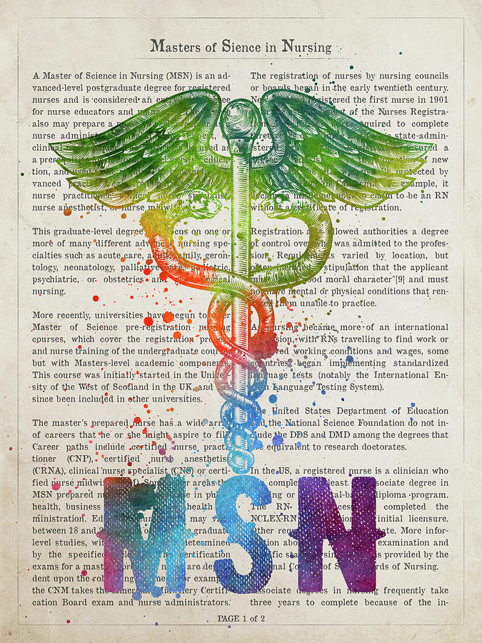 Nurse Digital Art - Masters Of Sience In Nursing Gift Idea With Caduceus Illustratio by Aged Pixel