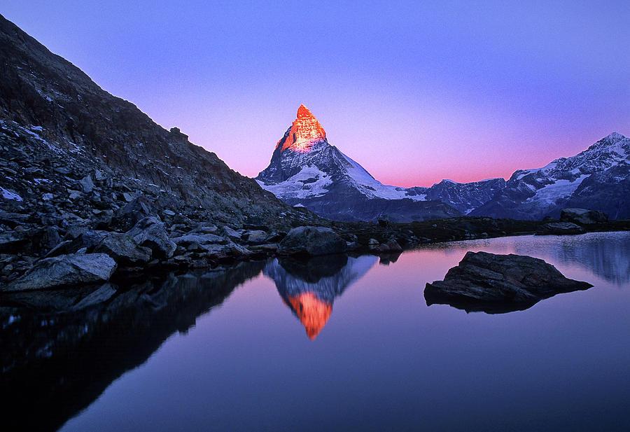 Matterhorn And Lake Riffelsee Photograph by Hans-peter Merten