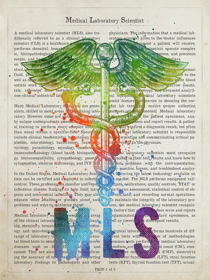 Mls Digital Art - Medical Laboratory Scientist Gift Idea With Caduceus Illustratio by Aged Pixel