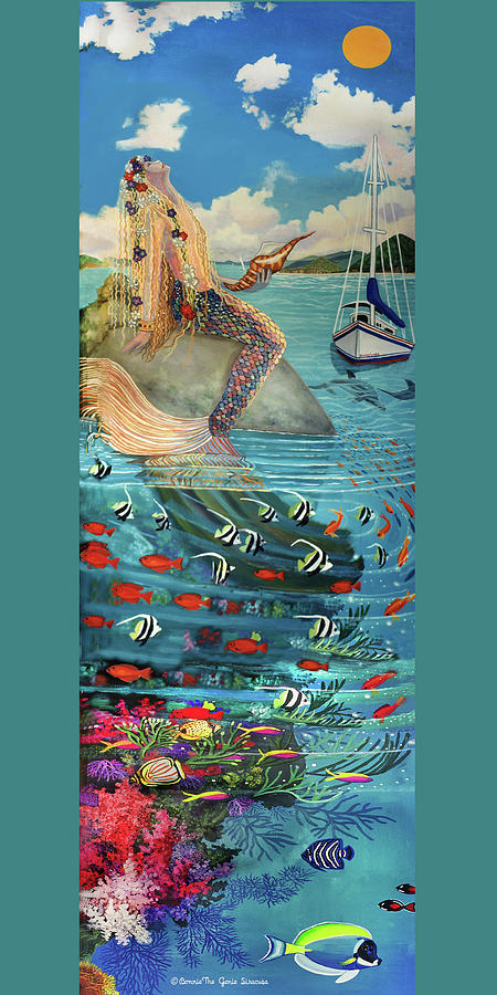 Mermaid in Paradise Towel Version #1 by Bonnie Siracusa