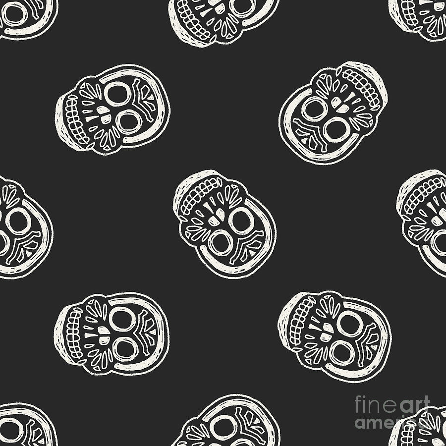 Symbol Photograph - Mexican Skull Doodle Seamless Pattern by Hchjjl