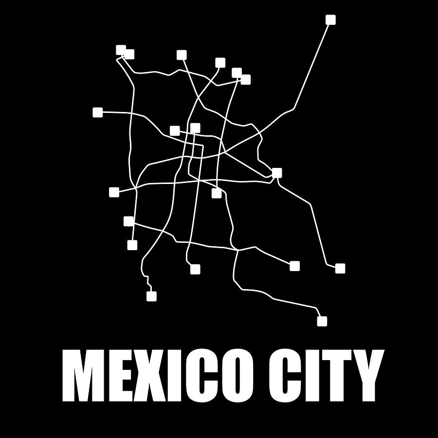 Mexico City Digital Art - Mexico City Black Subway Map 1 by Naxart Studio