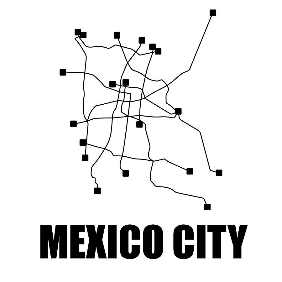 City Subway Map Art.Mexico City White Subway Map