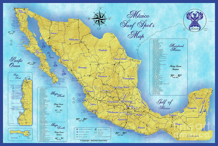 Mexico Surf Map Digital Art By Lucan Hirales