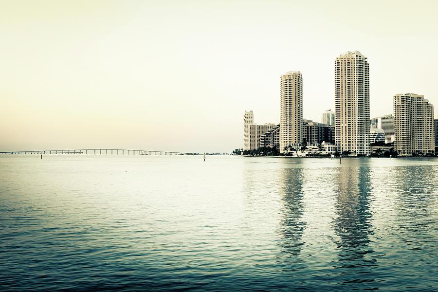 Miami Skyline On Biscayne Bay Photograph by Lightkey