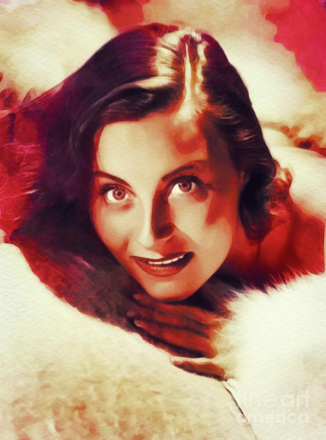 Michele Painting - Michele Morgan, Vintage Actress by John Springfield