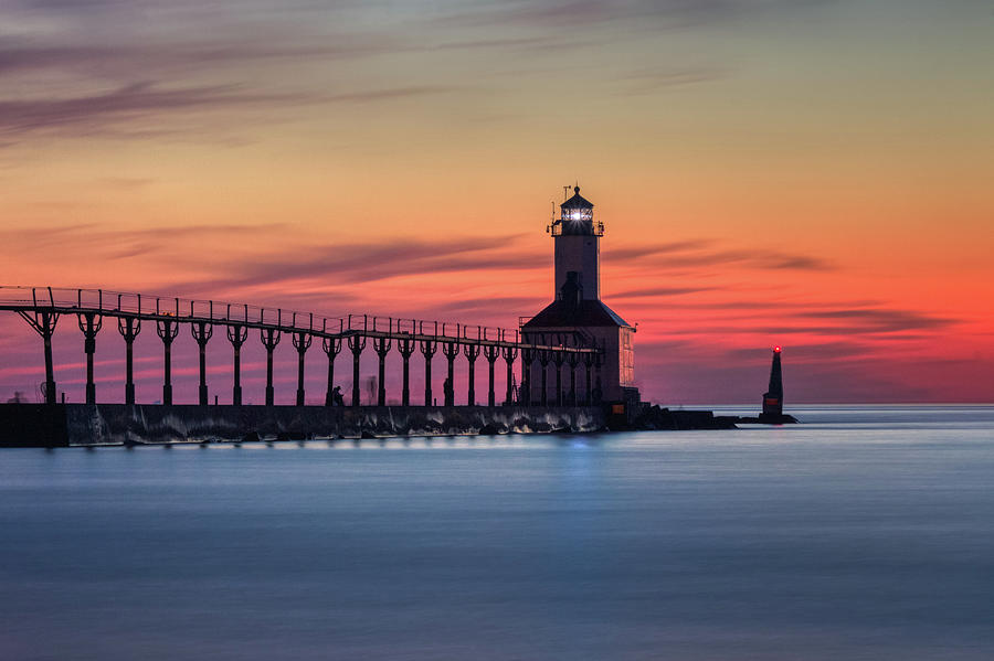 Michigan City East Pierhead Lighthouse After Sunset by Andy Konieczny