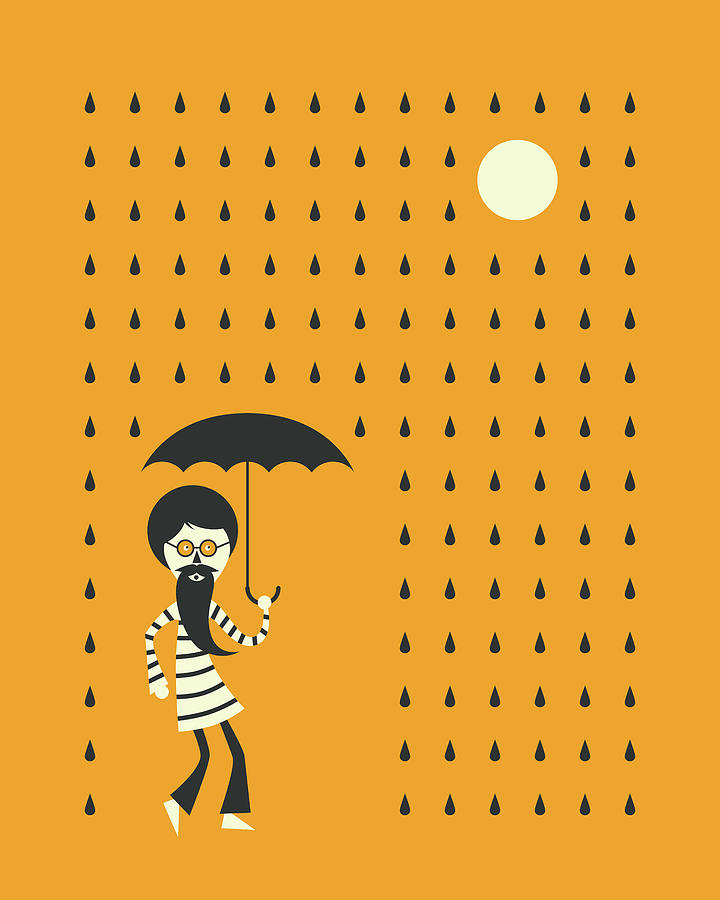 Minimal Digital Art - Minimal Rain by Jazzberry Blue