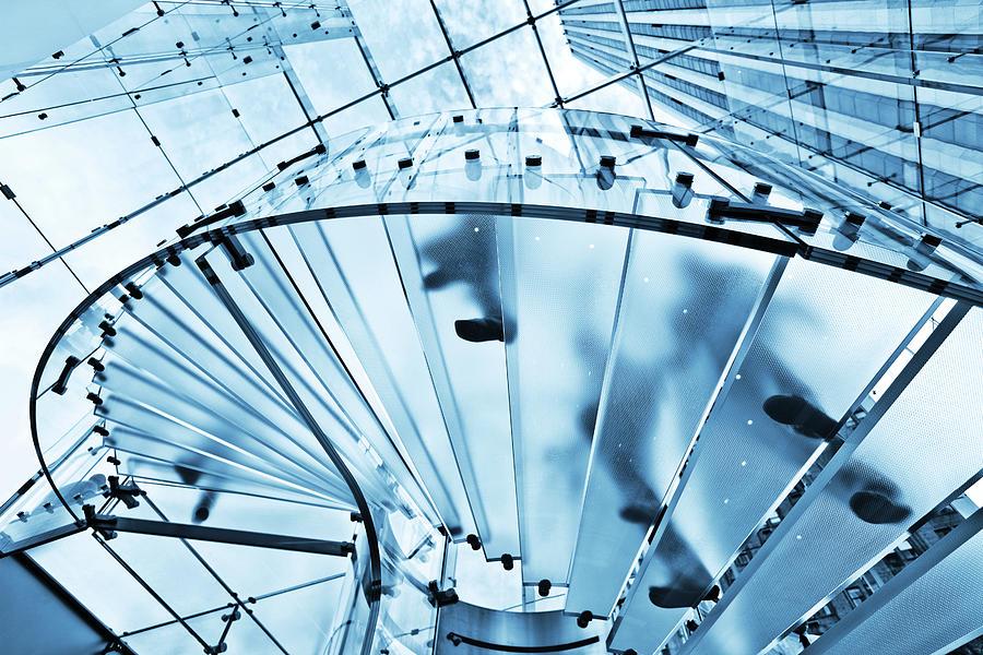 Modern Glass Staircase Photograph by Nikada