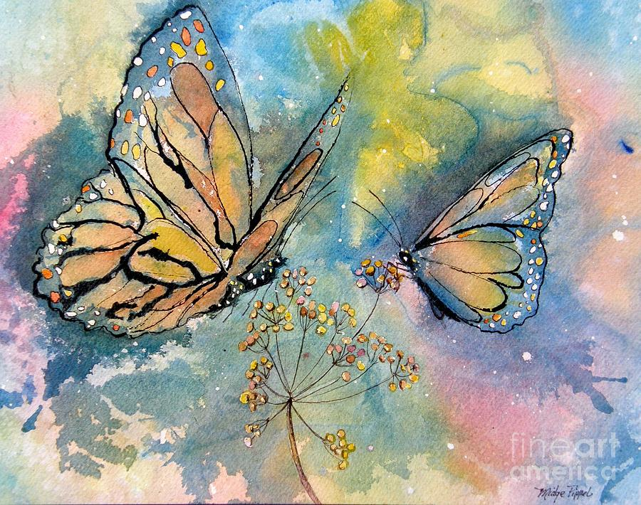 Monarchs Painting - Monarch Butterflies by Midge Pippel