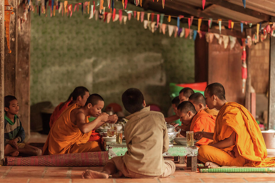 Monks At Breakfast, Wat Monastery Photograph by Cultura Rm Exclusive/gary Latham