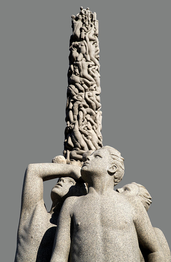 Three Male Vigeland Figures near the Monolith by Phil Cardamone