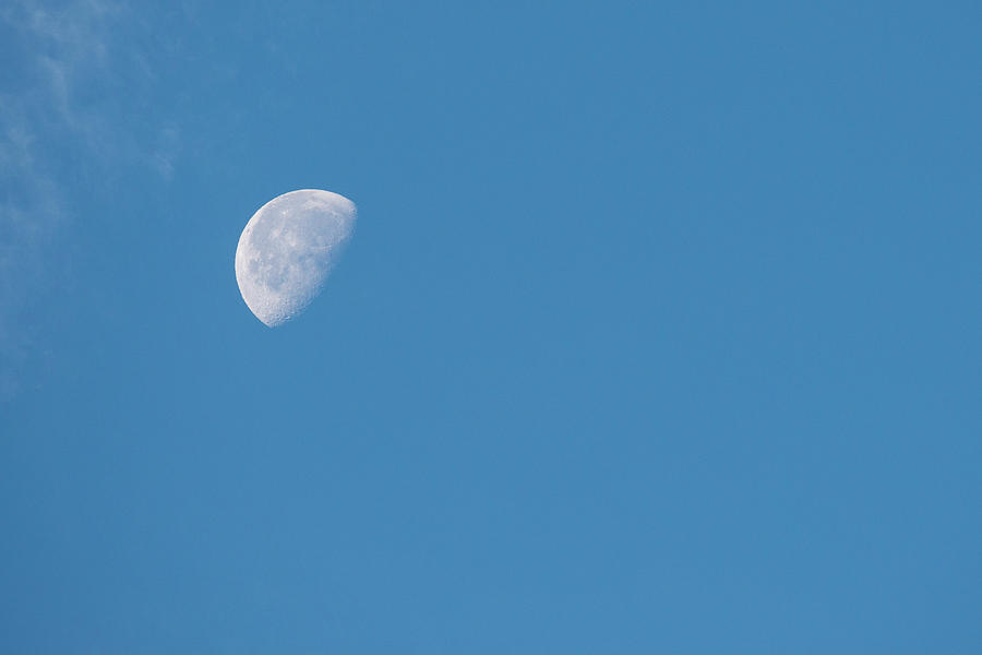 Astronomy Photograph - Moon With Clouds And Blue Sky by Cindy Miller Hopkins