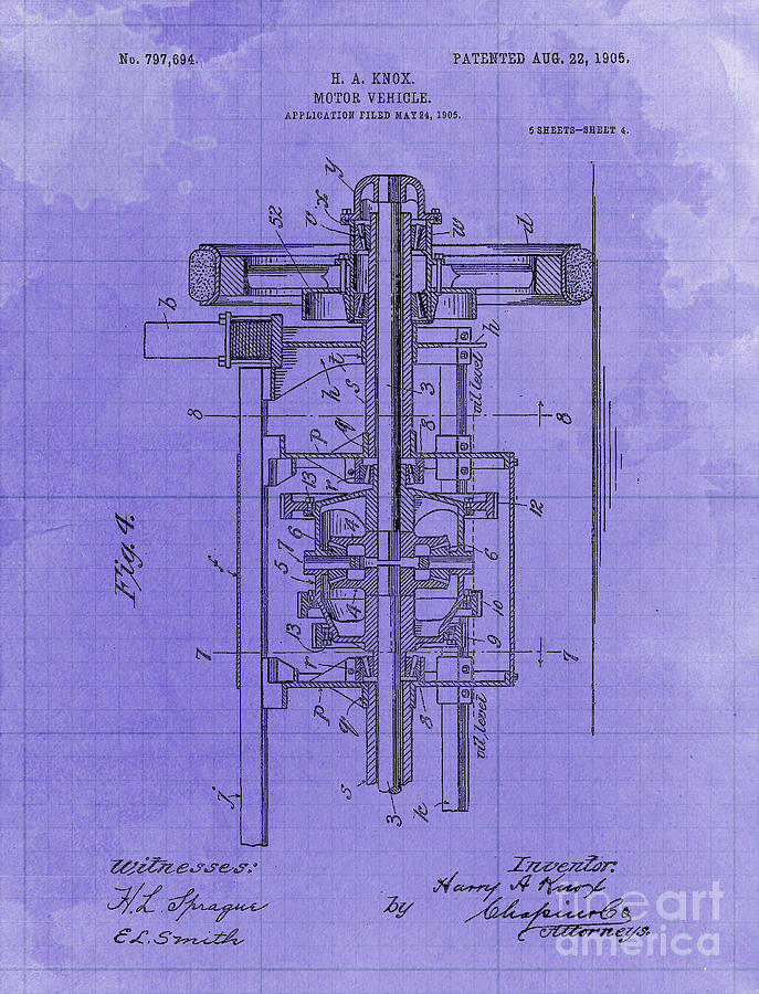Motor Vehicle Old Patent Year 1905 Blueprint Drawing