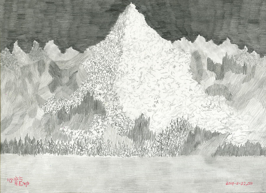 Mountainscape in Pencil by Michael Genevro