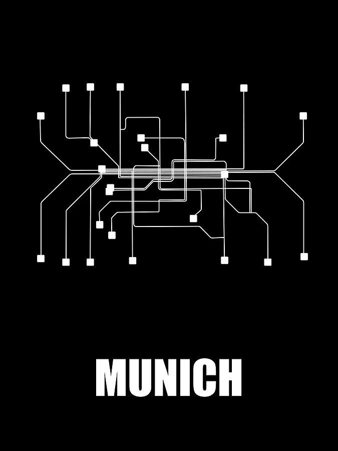 Munich Black Subway Map Digital Art by Naxart Studio