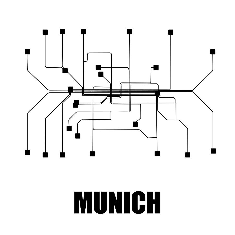 Munich Digital Art - Munich White Subway Map by Naxart Studio