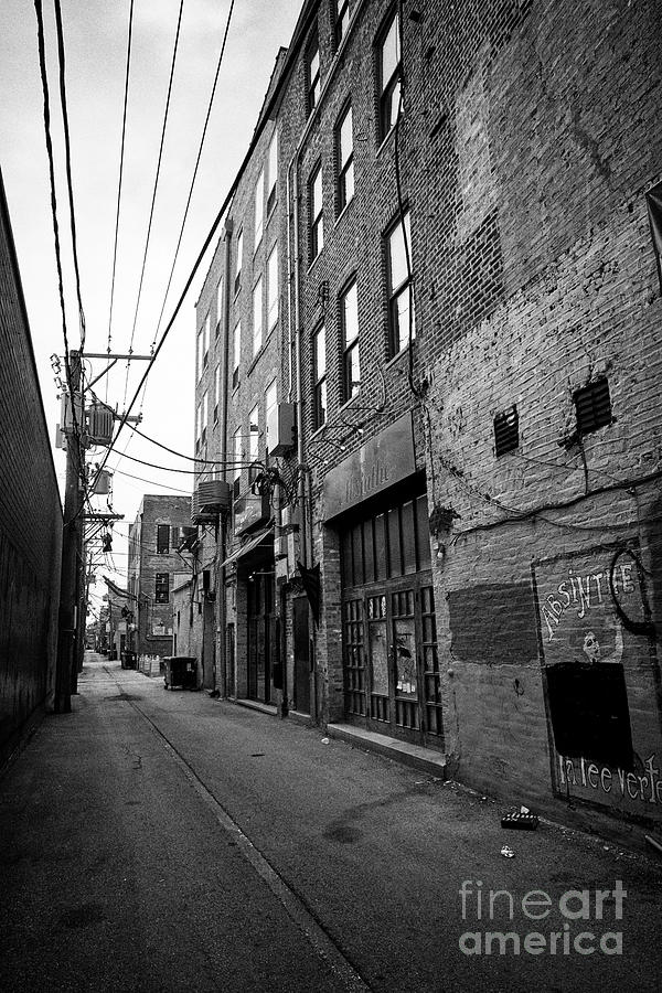 Chicago Photograph - narrow alleyway behind stores in the wicker park neighborhood of Chicago IL USA 1 by Joe Fox