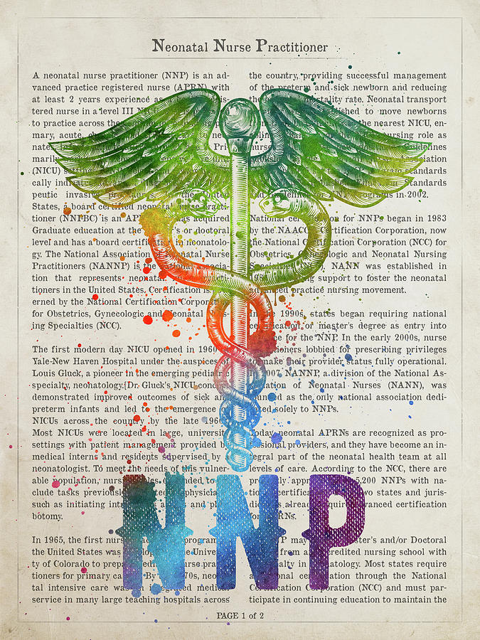 Nnp Digital Art - Neonatal Nurse Practitioner Gift Idea With Caduceus Illustration by Aged Pixel