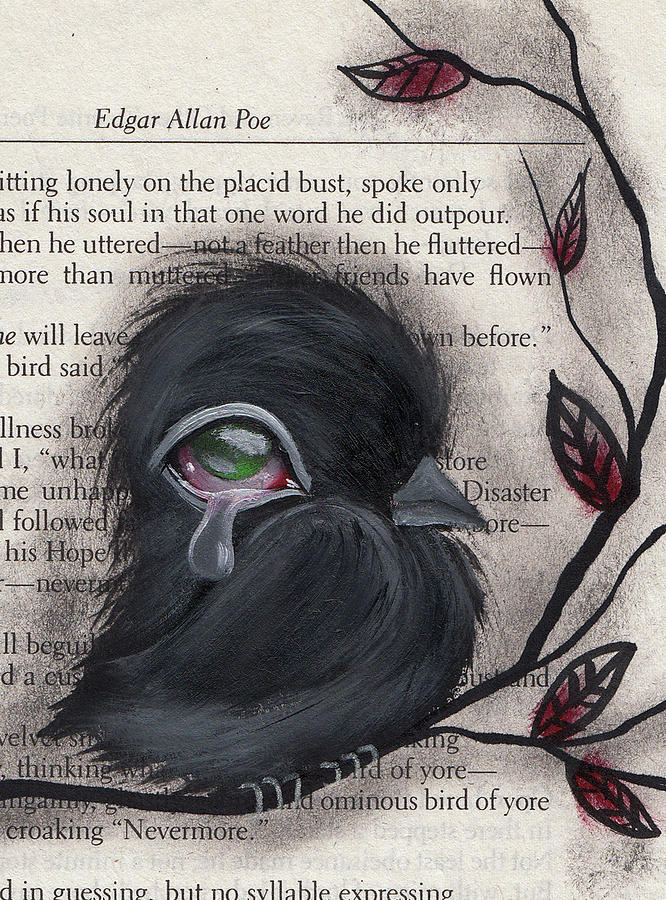 Raven Painting - Nevermore  by Abril Andrade Griffith