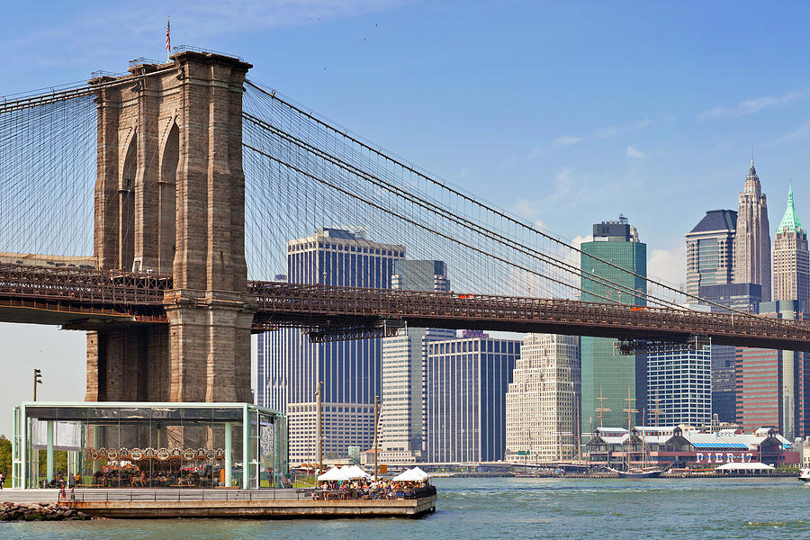 New York Photograph - New York City Brooklyn Bridge by Melanie Viola