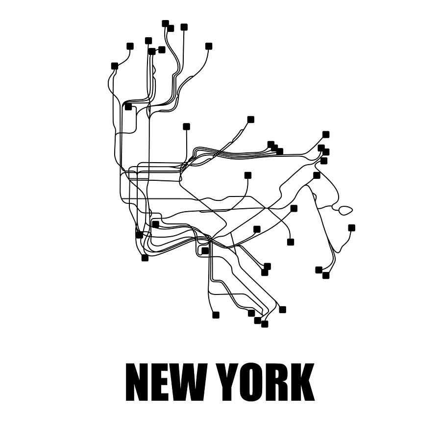 New York Digital Art - New York White Subway Map by Naxart Studio