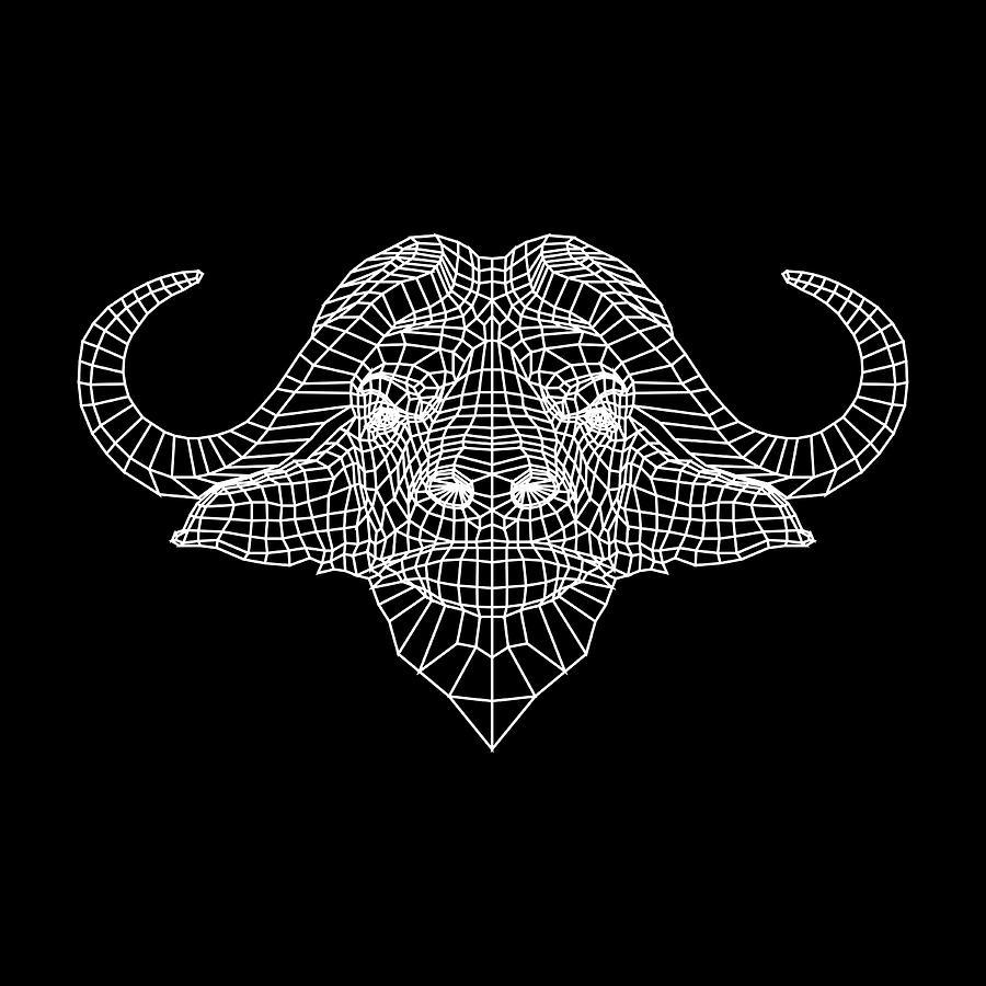 Buffalo Digital Art - Night Buffalo by Naxart Studio