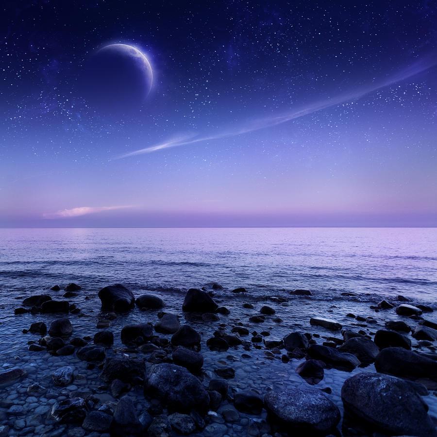 Night Shot Of Sea Photograph by Da-kuk
