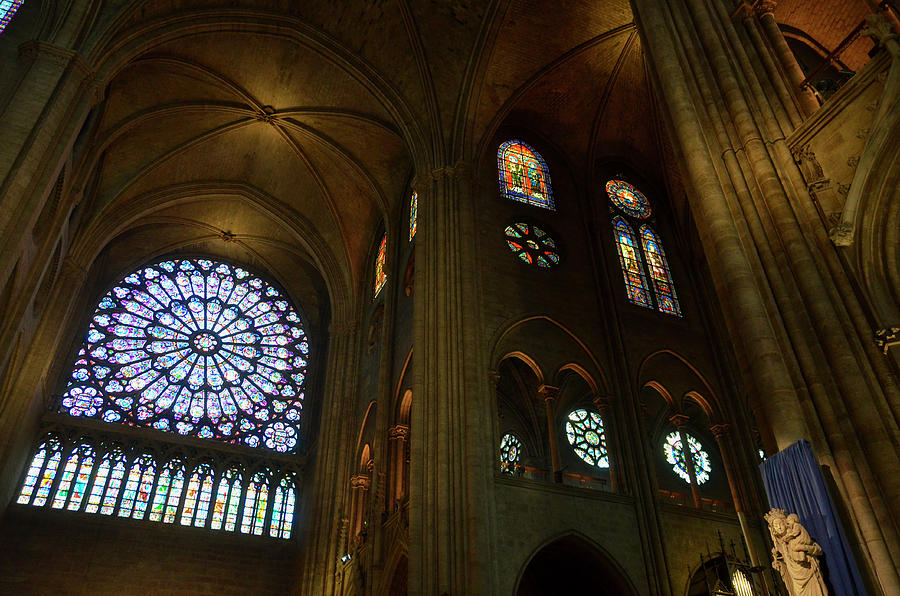 Nord rose window, vaults and stained glass windows in Notre Dame before the fire of 2019 by RicardMN Photography