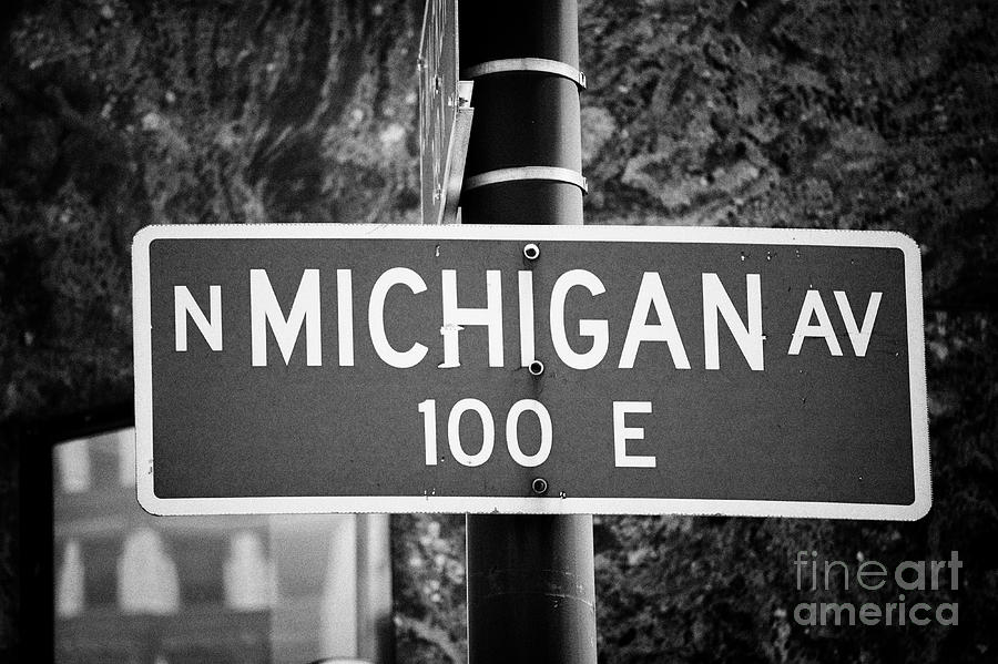 Chicago Photograph - North Michigan Avenue Green Chicago Street Names Nameplates Street Sign Chicago Illinois United Stat 1 by Joe Fox