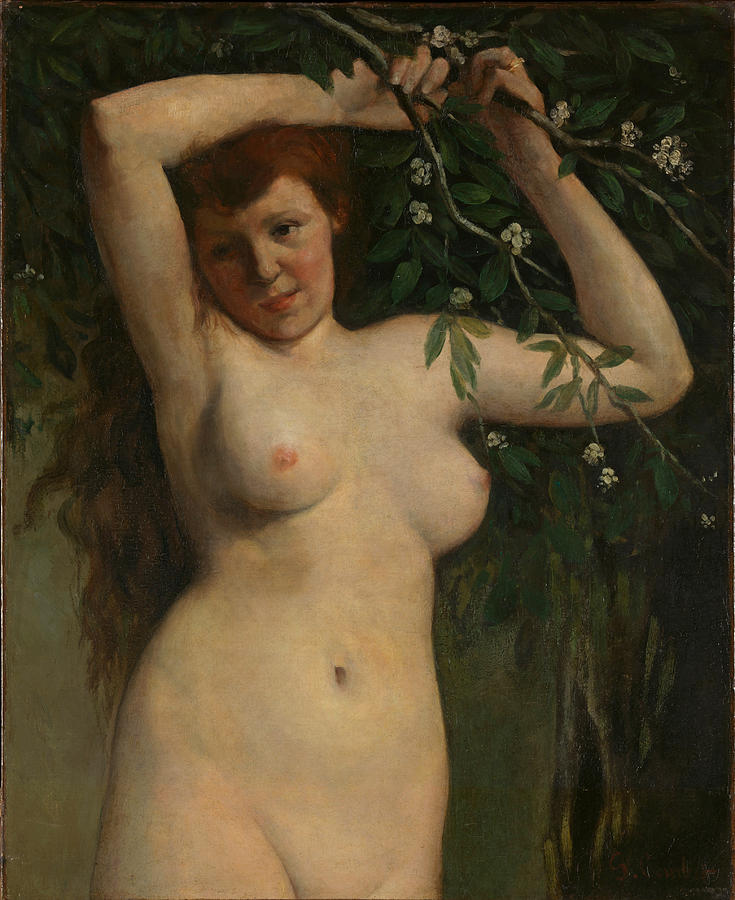 Gustave Courbet Painting - Nude with Flowering Branch by Gustave Courbet