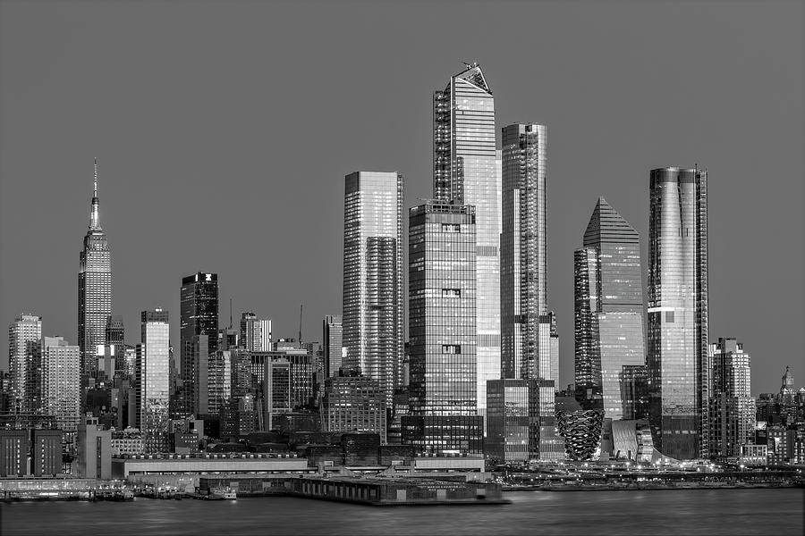 NYC Skyline Blue Hour BW by Susan Candelario