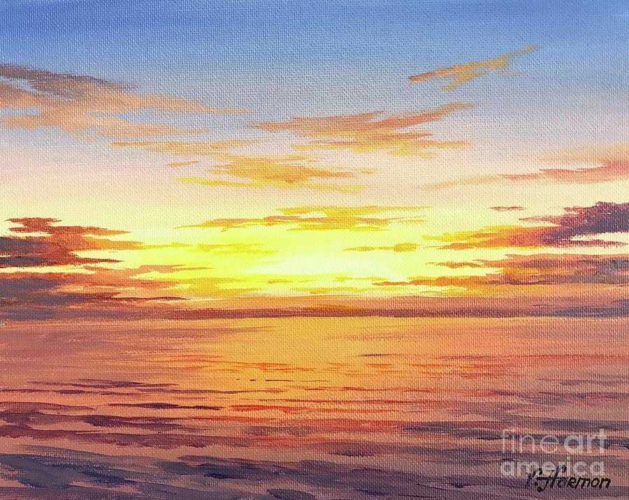 Ocean Sunset Painting By Varvara Harmon