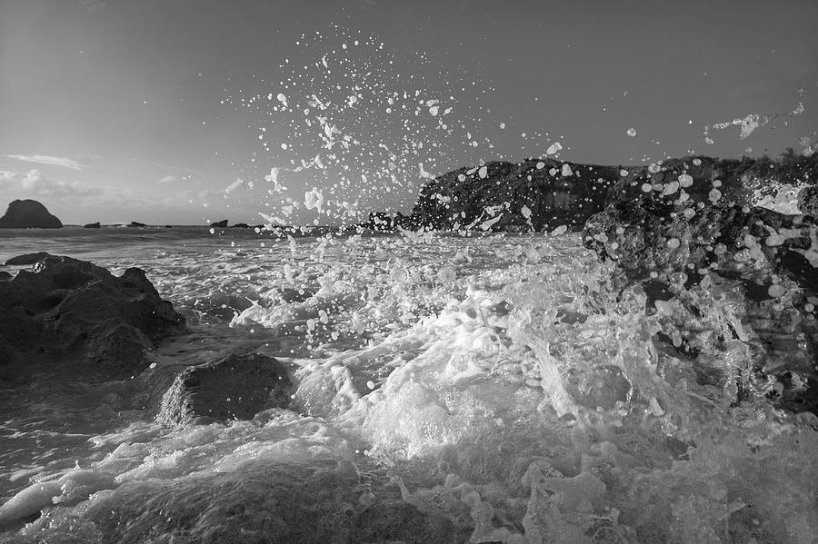 Ocean Photograph - Ocean Wave Splash In Black And White by Betsy Knapp