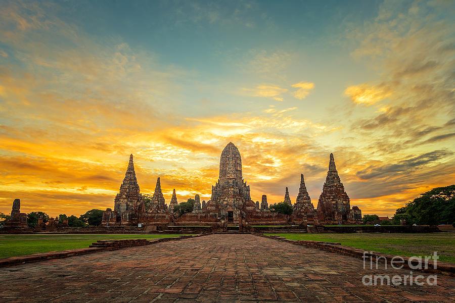 Sukhothai Photograph - Old Temple Wat Chaiwatthanaram by Santiphotoss
