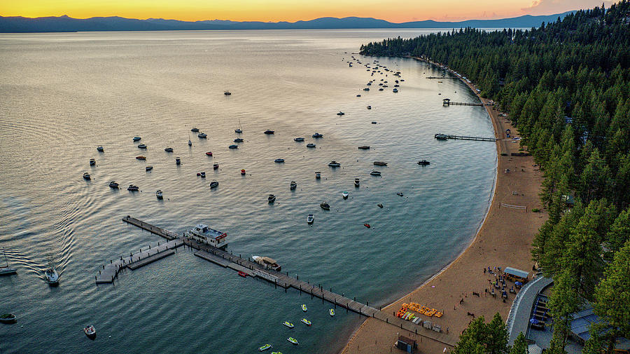Orange Sunset Sky Lake Tahoe  by Ants Drone Photography