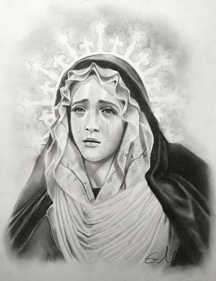 Our Lady Drawing - Our Lady Of Sorrows by Eric  Armusik