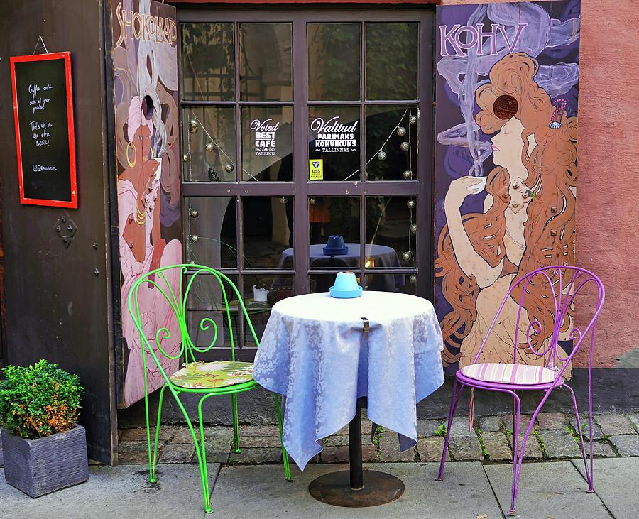 Outdoor Table For 2 In Tallinn Estonia by Richard Rosenshein