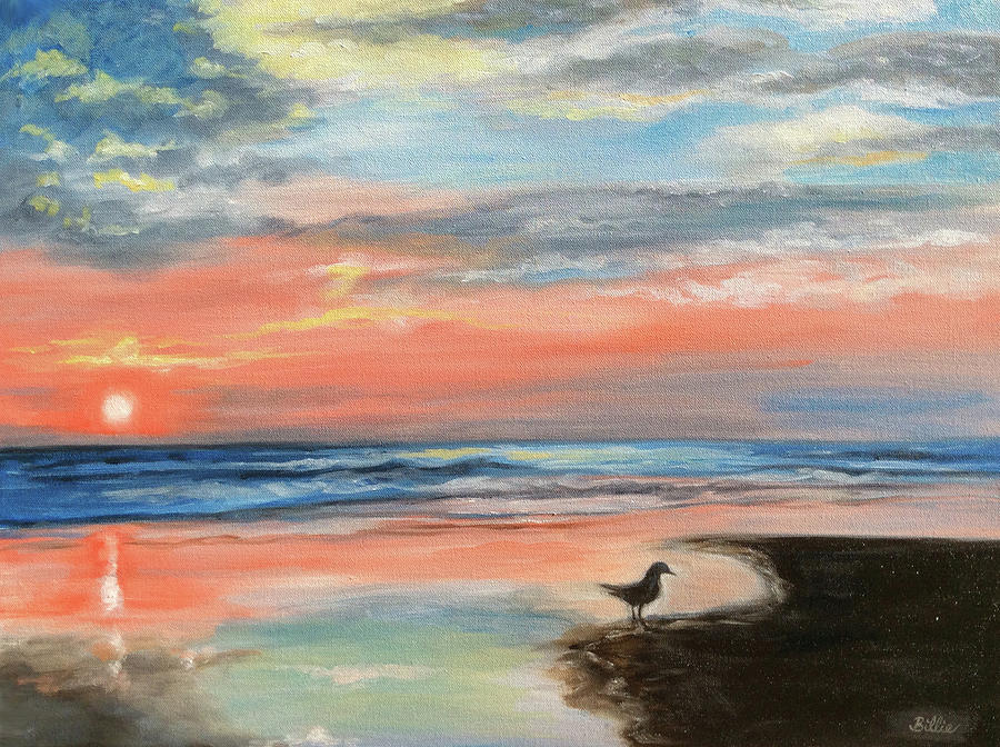 Outer Banks Painting - Outer Banks Sunrise with Friend by Billie Mann