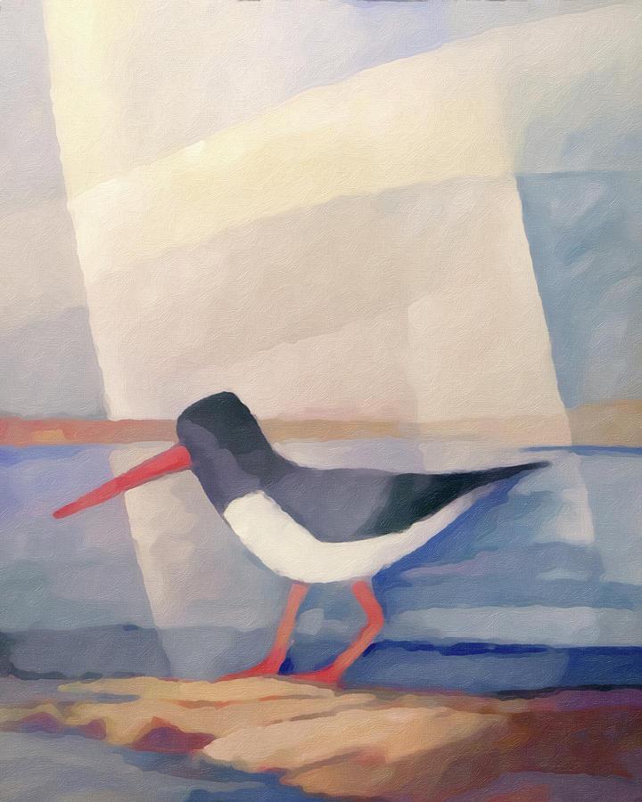 Oystercatcher Painting - Oystercatcher Painting 2 by Lutz Baar