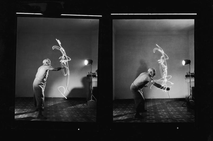 Pablo Picasso Works With Light Photograph by Gjon Mili